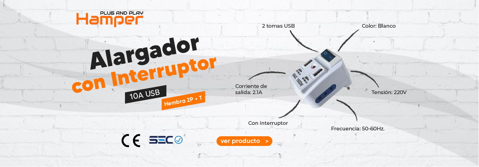 ADAPTADOR 2P+T 2 ENCHUFE + 2USB 10A 250V CON INTERRUPTOR