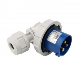 Enchufe industrial macho volante 90° 2P+T 16A 230V IP67