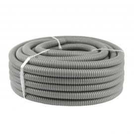 Tubo extra flexible metálico con PVC 20mm gris Rollo 25mts
